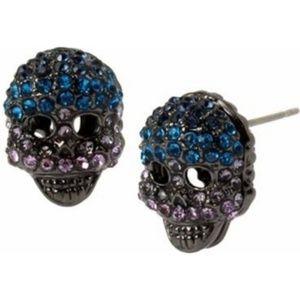 Betsey Johnson Hematite Tone Skull Stud Earrings